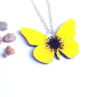 SALE = Yellow and black butterfly necklace, Butterfly jewelry, Wing jewelry, Yellow butterfly, Butterfly pendant, Butterfly wing, Insect