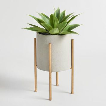 Medium Gray Planter with Brass Stand