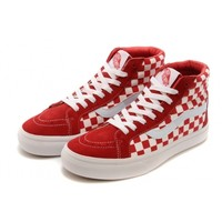 Cheap Vans SK8-Hi Unisex High-Tops Shoes Classic Checkerboard Style (Red White) on sale!!!