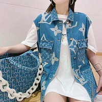 Louis Vuitton LV cowboy old jacquard tooling vest cowgirl vest female student loose all-match coat