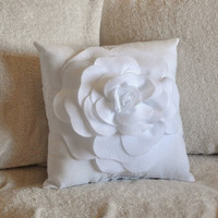 MOTHERS DAY SALE White Decorative Pillow White Rose Pillow 14 x 14
