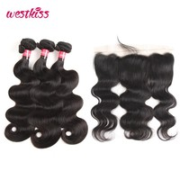 West Kiss 100% Human Hair Bundles With Frontal 3 Bundles Brazilian Body Wave Hair Weaving Natural Black Non-remy Hair Extensions