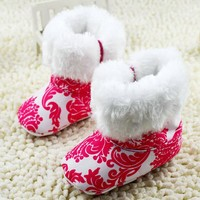 Baby Shoes Infants Crochet Knit Fleece Boots Toddler Girl Wool Snow Crib Shoes Winter Booties