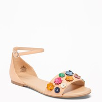 Flower-Applique Peep-Toe Sandals for Women | Old Navy