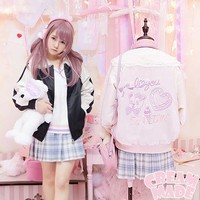Trendy Rock Sweetheart Cute Girls Sailor Collar Long Sleeve Baseball Jacket Fine Bear Embroidery Spring Lolita Coat Outwear Pink&Black AT_94_13
