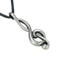 "Dan's Jewelers ""Sounds of Song"" Treble Clef Necklace Music G Clef Symbol Pendant, Fine Pewter Jewelry"
