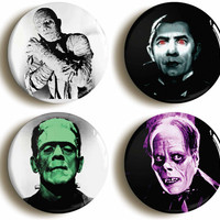 set of four Hollywood Horror Movie badges buttons pins: Frankensteins Monster, Dracula, Phantom of the Opera, Mummy (1inch/25mm diameter)