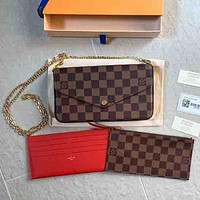 Louis Vuitton LV Fashion Women's Three-piece Set, Cosmetic Bag, Coin Purse, Clutch, Three-piece Set