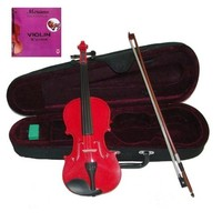GRACE 4/4 Size Red Acoustic Violin with Case and Bow + Free Rosin