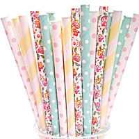Floral Yellow Mint Paper Straws- 50 Baby Pink Striped Polka Dot Wedding decor, Flower Birthday Party, Shower Straw, Tea Parties w/ DIY PDF