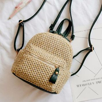 Fashion New Straw Woven School Bag Ladies Small Fresh Hollow Backpack