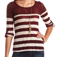 Open Knit Striped Sweater by Charlotte Russe - Burgundy Cmb