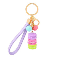 Candy Color Beads Macarons Cake Key Chains Hide Rope Pendant Fashion Keychains Car Keyrings Bag Hanging Pendant Accessories