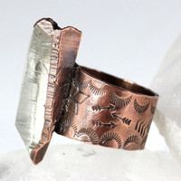 Raw Crystal Ring Quartz Crystal Ring Mineral Jewelry Electroformed Copper Jewelry Big Ring Big Crystal Ring Raw Crystal Jewelry Mens Ring