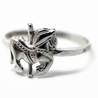 Merry Go Round Ring, Carousel Horse Ring, Fairground Jewelry, Sterling Silver Ring,