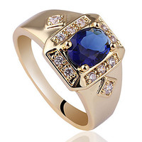 Intionix Shop Hot ale Yellow Gold Finih 925 terling ilver Ring For Men With 6X8Mm Oval Cubic Zirconia