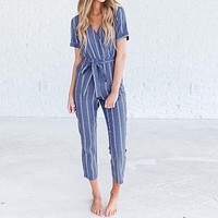 Belted Vertical Stripe Short Sleeve Cotton Jumpsuit