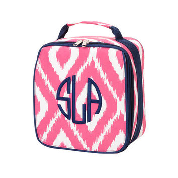 Monogrammed Lunchbox Lunchbag Pink Ikat Insulated Cooler School Personalized