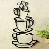 Beautiful Removable Coffee House Cup Vinyl Wall Art Metal Mug Wall Sticker Decals DIY Kitchen Decor = 1945757892