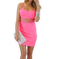 (anp) Strappy cage neon pink bodycon dress