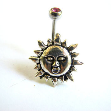 Sun Belly Ring - Non Dangle Belly Button Ring, Silver Bellybutton Ring Belly Button Jewelry Naval Ring