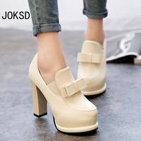 2017 Ladies Casual Thick High Heel Bow Knot