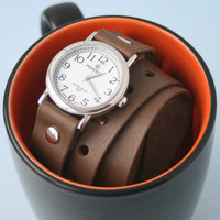 Handmade brown leather bracelet wrap around wrist with silver watch face - Free Shipping