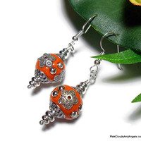 Earrings Dangle Drop Orange Embossed Silver Accents Copal Nepal Resin Look Handmade Fashion Jewelry Argentium Silver Beaded