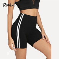 Romwe Sport Black Striped Cycling Women Yoga Sport Shorts 2018 Training Exercise Leggings Workout Fitness Jogging Tight Shorts