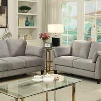 2 pc Ysabel collection contemporary style gray flannelette sofa and love seat set with tufted back and padded arms