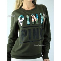 """Pink"" Victoria's Secret Letter Print Long Sleeve Pullover Top Sweater Dark green"