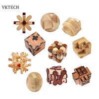 Wooden Toys Ming Lock Toys for Children Kids Assembling 3D Puzzle Puzzle Ball Cube Challenge IQ Brain Wood Toy Games Kids Toys