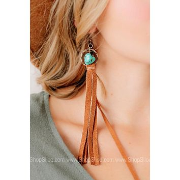 Turquoise Beads W/ Suede Leather Earrings