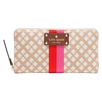Kate Spade Classic Neda Zip Around Clutch Wallet | Jacquard Fabric with Smooth Leather Trim