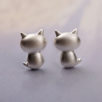 Funny Fat Cat Earrings - 925 Sterling Silver