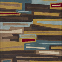 Gagan Collection Wool Area Rug in Brown and Red design by Chandra rugs