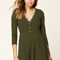 Snap-Button Skater Dress