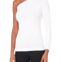 Helmut Lang White One Shoulder Top - INTERMIX®