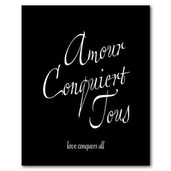 Love conquers all - amour conquiert tous - Typography Wall Art Print - Anniversary Wedding Gift - French script - inspriational print