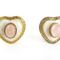 Pink and White Heart Earrings - Vintage Gold Tone Clip-ons, Christmas Gift For Her