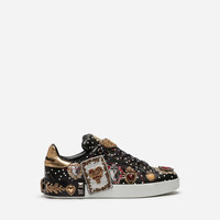 Women's Sneakers | Dolce&Gabbana - CALFSKIN SNEAKERS WITH EMBROIDERY AND APPLIQUÉS