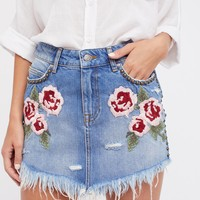 Free People Wild Rose Embroidered Mini Skirt