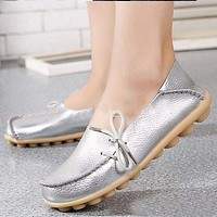 Genuine leather Women shoes flats lace-up fashion casual shoes