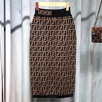 FENDI Double F Letter Knit Skirt Double F High Waist Thinning Jacquard Stretch Wrap Hips One Step Skirt