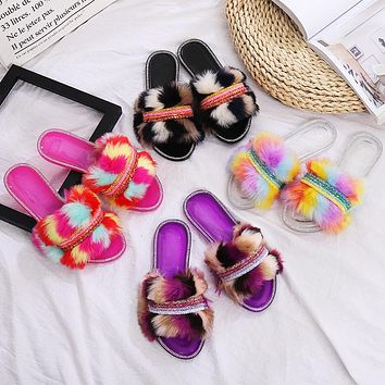 New style colorful hairy slippers chain flat diamond outer wear hairy slippers shoes