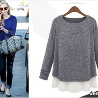 2014 New Autumn Winter Women's Plus size Clothes Fashion 5xl 4xl 3xl Knit Long Sleeve Tops sweaters = 1958493316