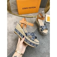 LV Louis Vuitton Women's Fashion Leather High Heels Shoes Women Sandals Heel 041