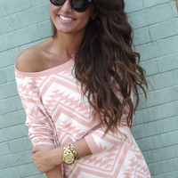 Cozy Aztec Sweater in Peach | The Rage