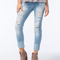 Almost Famous Premium Destructed High Cuff Womens Jeans Light Blue  In Sizes
