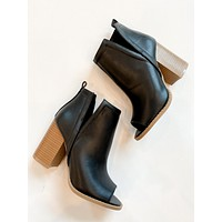 Stephanie Open Toe Booties (Black)